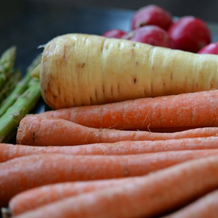 carrots, parsnip, asparagus and radishes